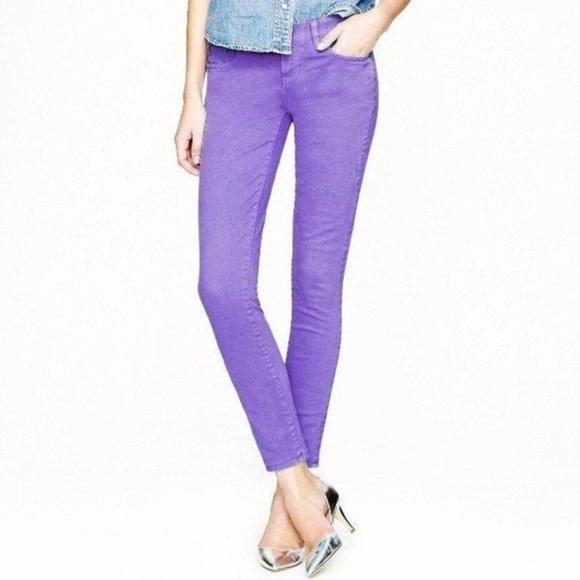 NWT J. Crew Toothpick Purple Jeans Size: 28